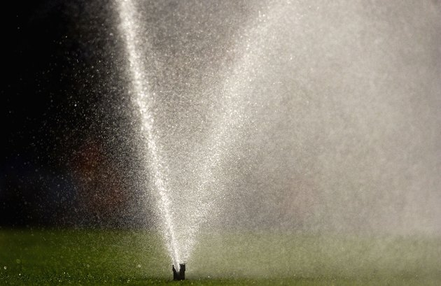 The sprinkler system comes on just before the match to water the pitch