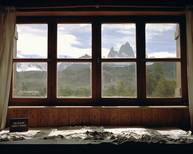 Window overlooking mountains