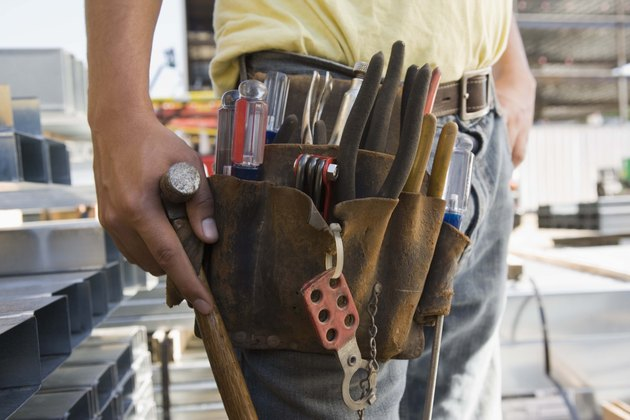 Tool belt on construction worker