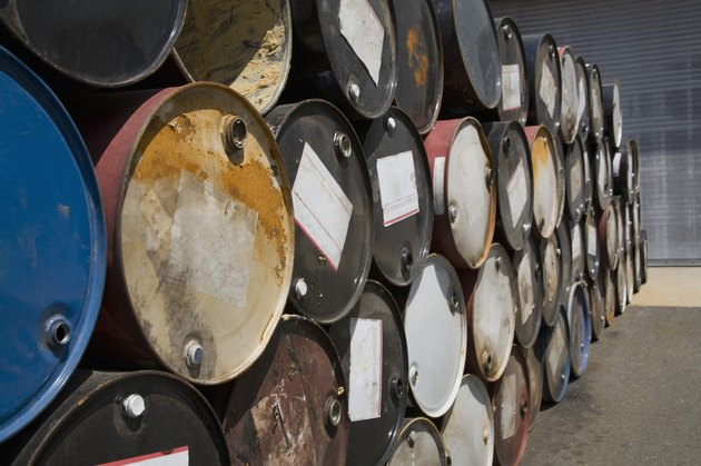 Stacked oil containers