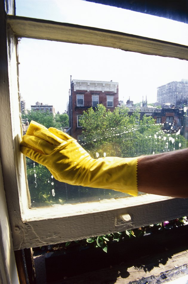 Rubber gloved hand washing window