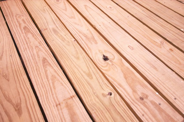 Rows of stained wood planks