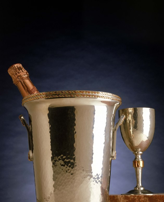 Silver champagne bucket and goblet