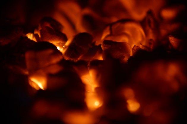 Glowing hot coals