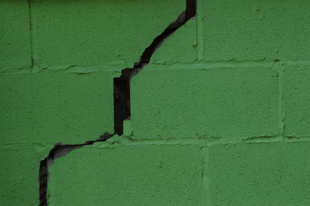 Crack in cinder block wall