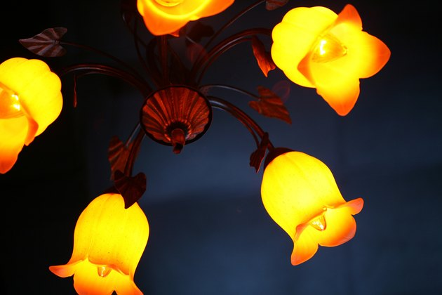 Close-up of chandelier with tulip motif