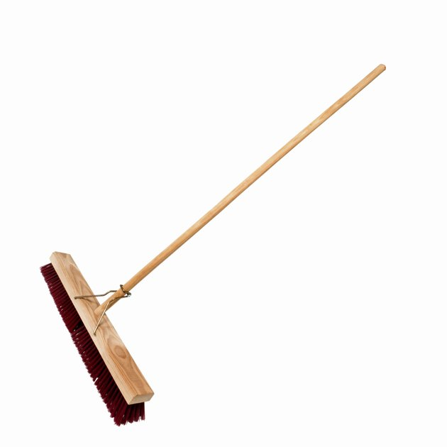 Close up of a sweeping brush