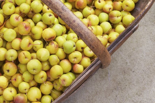 Crab Apples In Wooden Basket