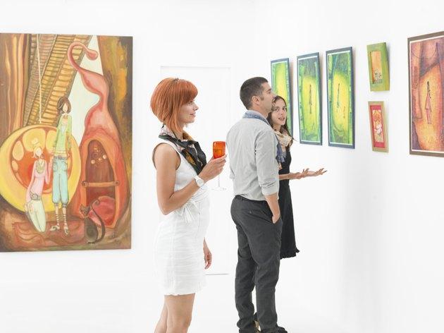 people in art gallery