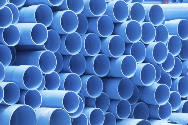 PVC pipes staked in construction site