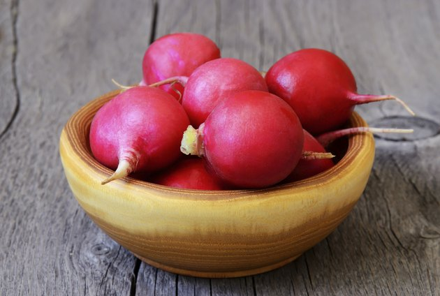 Radish in a brown bowl