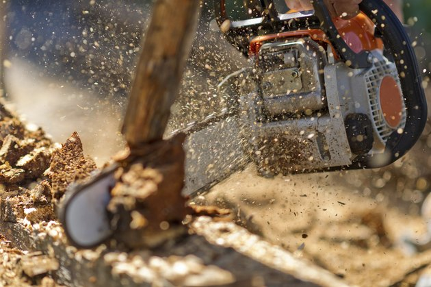 Working with chainsaw in spalshes of wooden chips