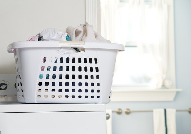 Basket of laundry on washing machine