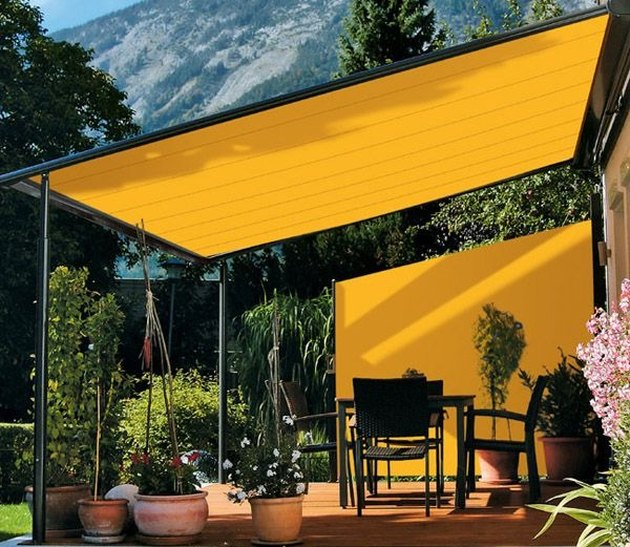 Brightly colored shade sail patio covers