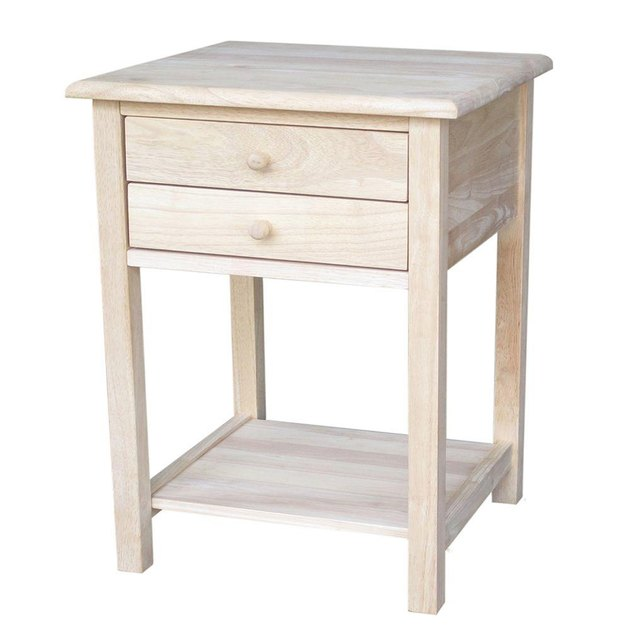 Small two-drawer bedside table in blonde wood finish