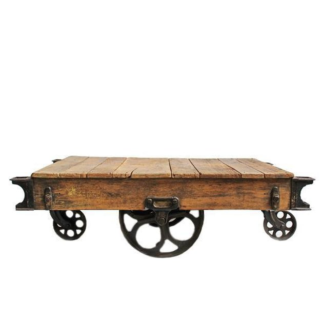 Chairish Vintage Industrial Cart coffee table.