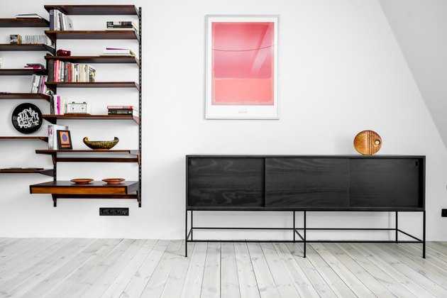 dark console table and shelves
