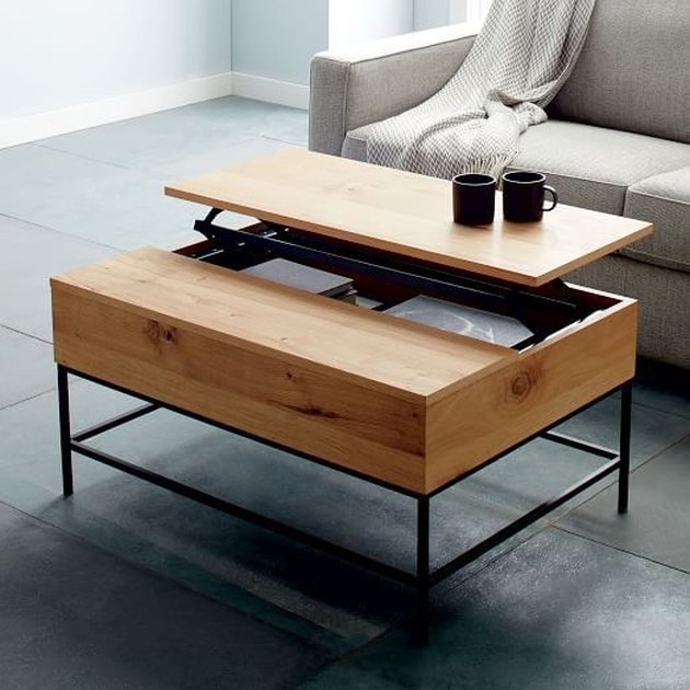 industrial wooden coffee table with hidden storage
