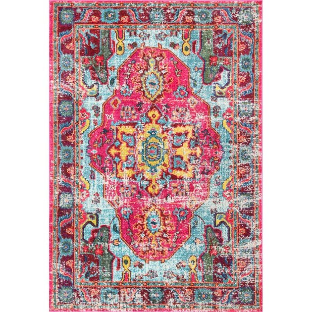 Hot pink and blue variegated area rug