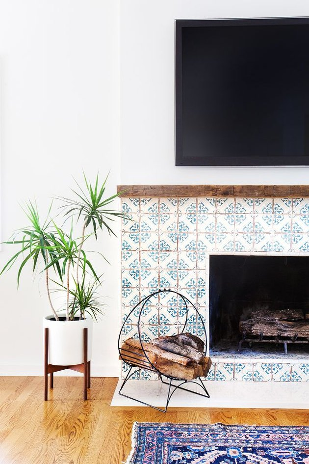 encaustic cement tile fireplace surround