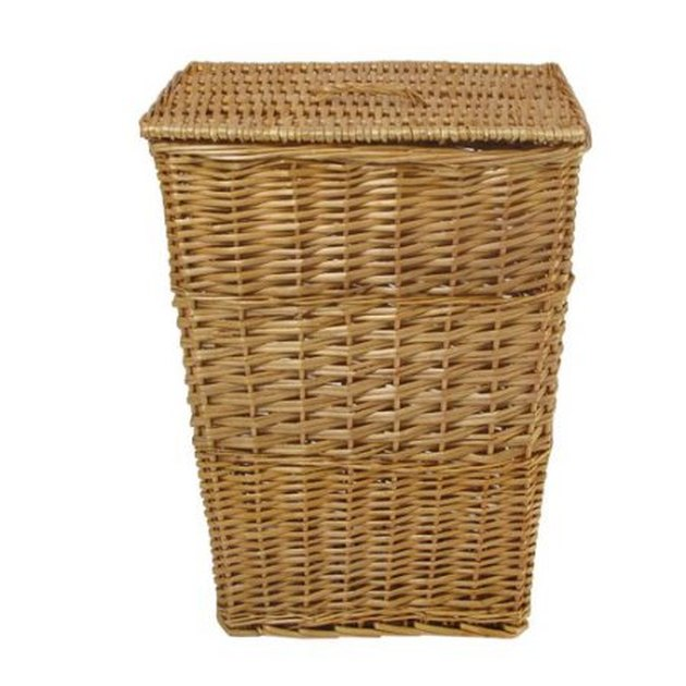 Upright woven laundry hamper