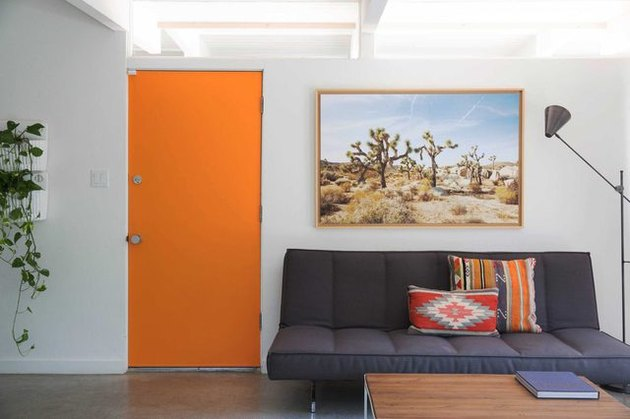 room with orange door