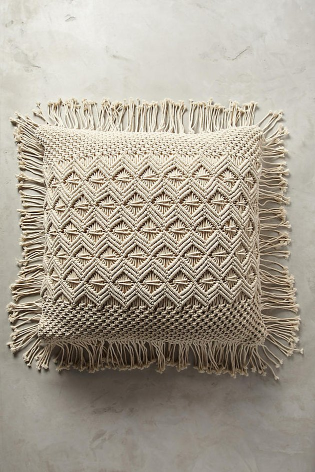 Anthropologie fringed floor pillow.