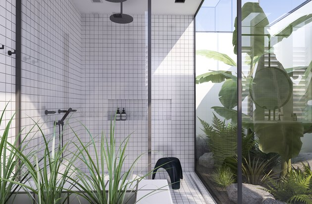 modern indoor outdoor bathroom