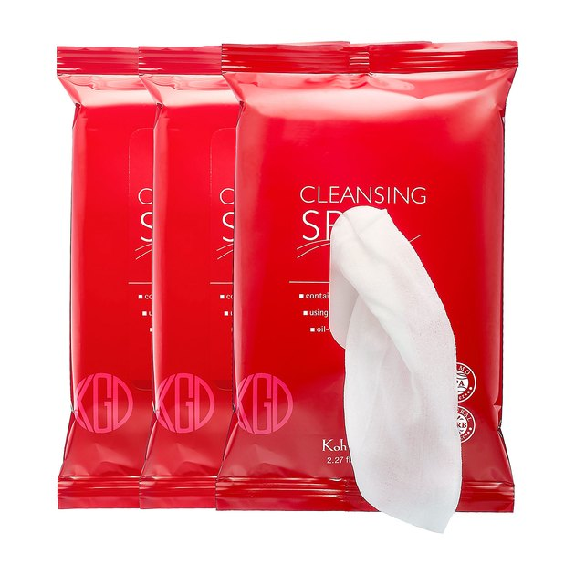 Three red plastic packs with a white cloth extending from the topmost pack.