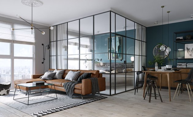 glass walls room divider