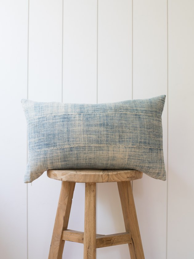 Faded indigo lumbar pillow