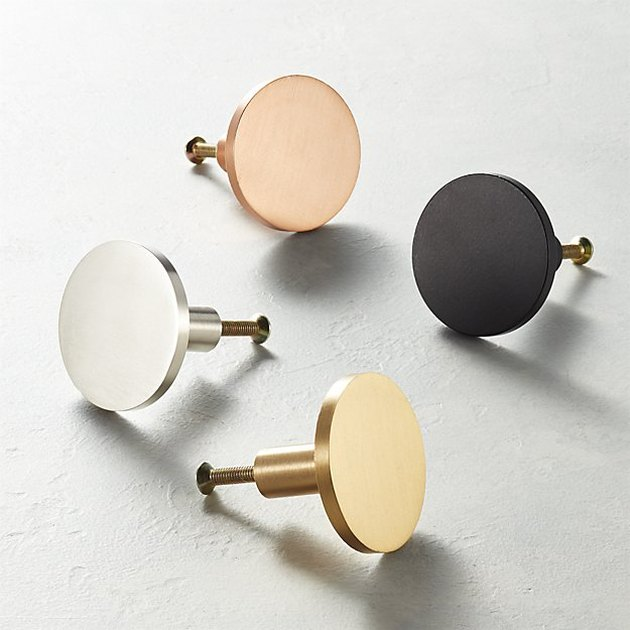 cb2 flat metallic circle knobs