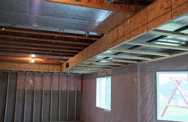 Framed soffit in basement.