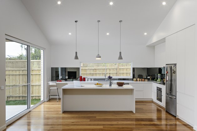 kitchen island and pendant lights
