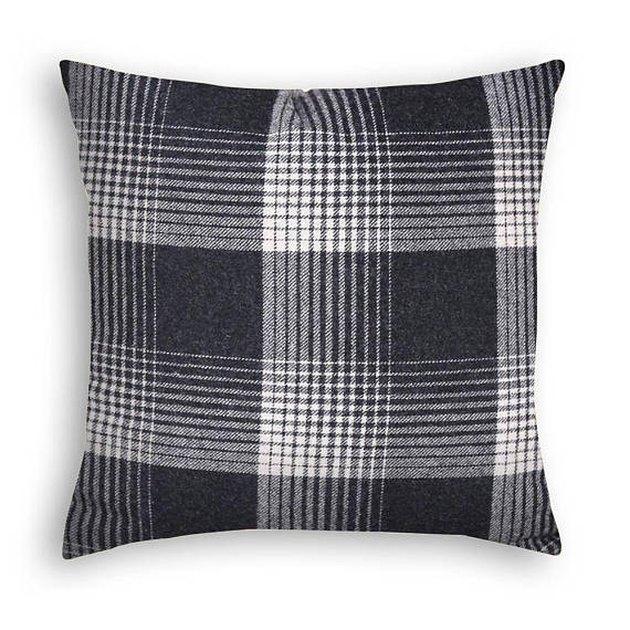 Black and cream plaid pillow cover