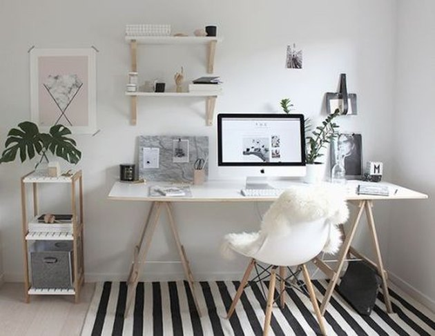 modern at home office with black and white striped rug