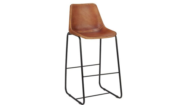 Brown leather bar stool with wire legs. Has back and no arms