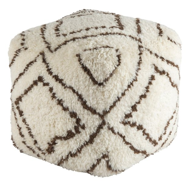 Cream shaggy pouf with brown diamond stitching