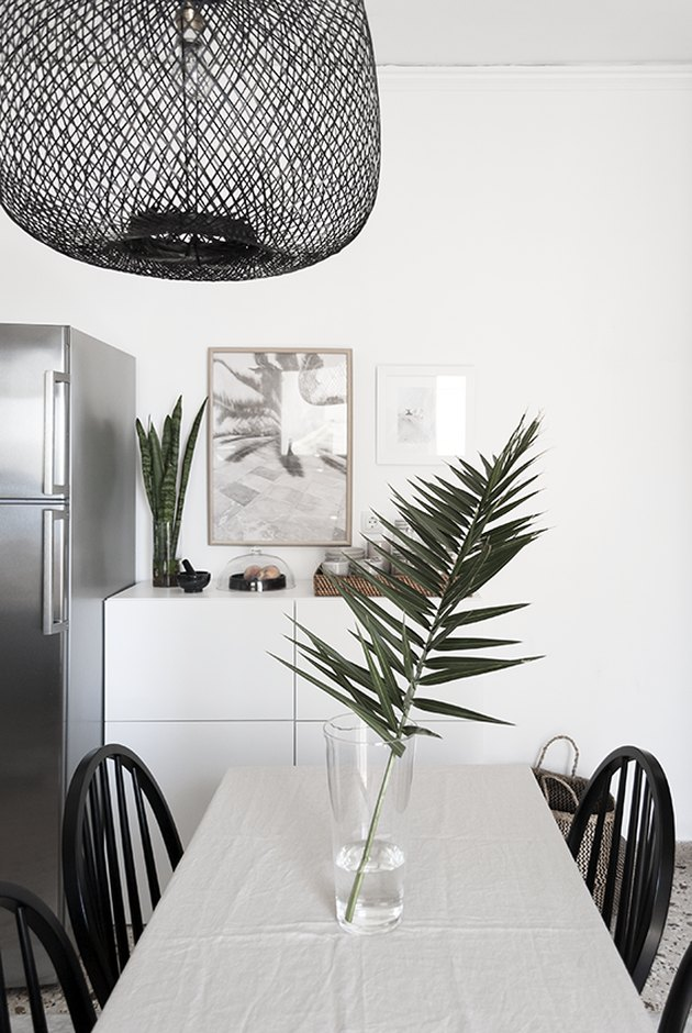 modern kitchen palm fronds bamboo light