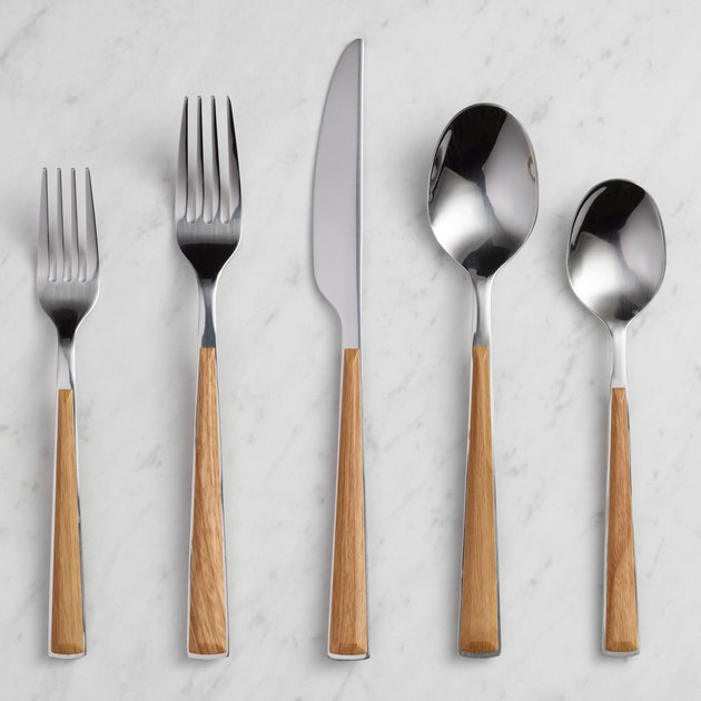 wood handle flatware set