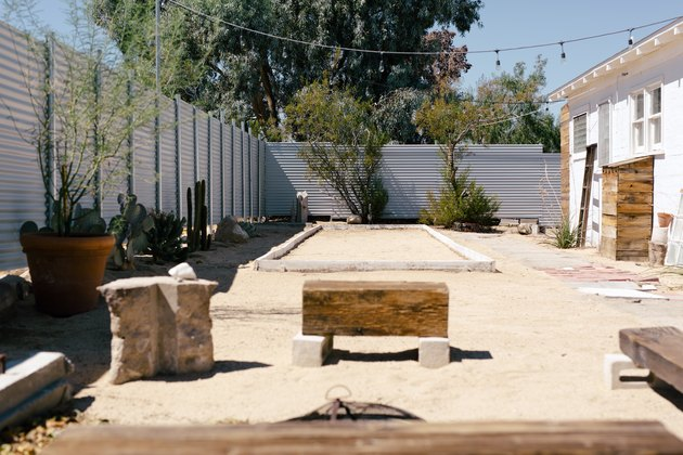 The outdoor bocce court
