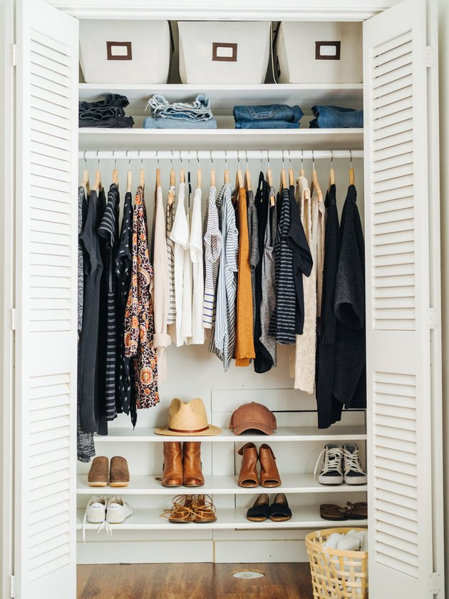 Bedroom closet idea by Blogger Un-Fancy with open shelving and hanging clothes
