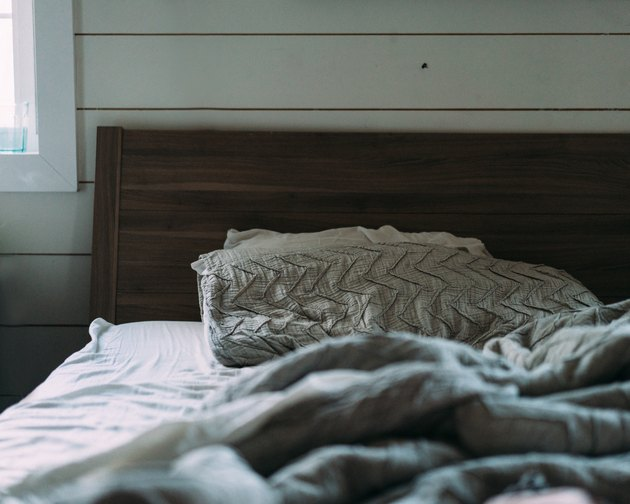 Rustic queen bed headboard.