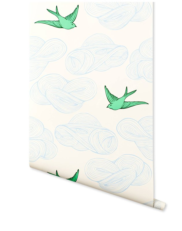 Wallpaper swatch featuring birds and clouds