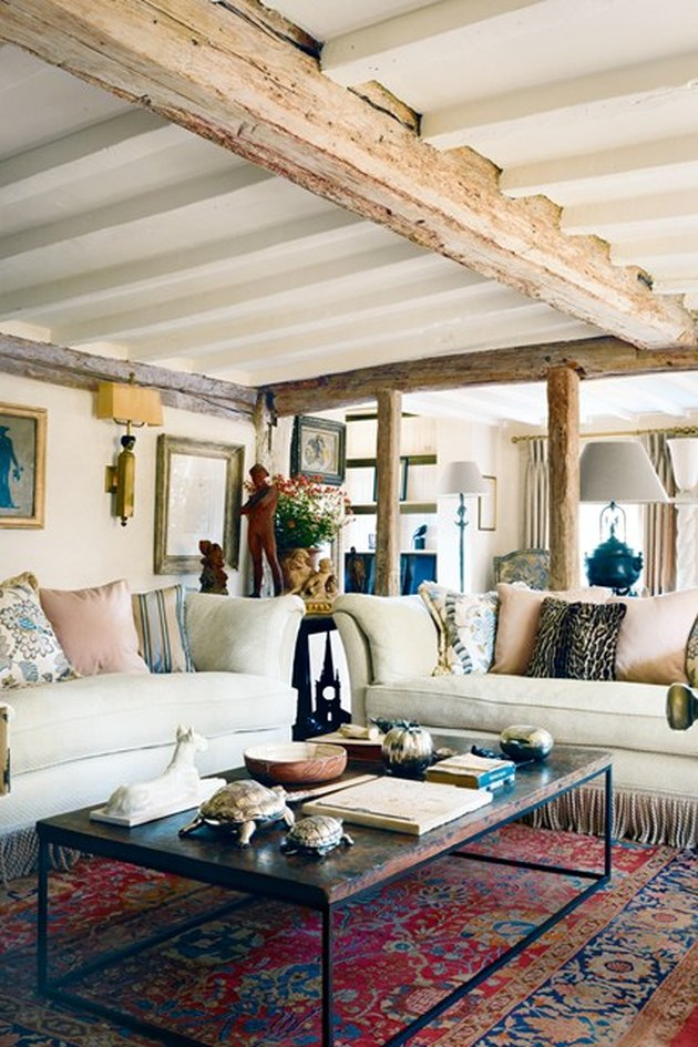 exposed beams english country living room