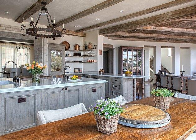 exposed beams italian kitchen