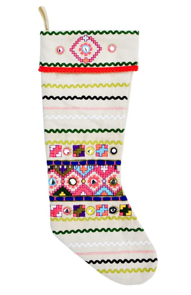 folk canvas stocking