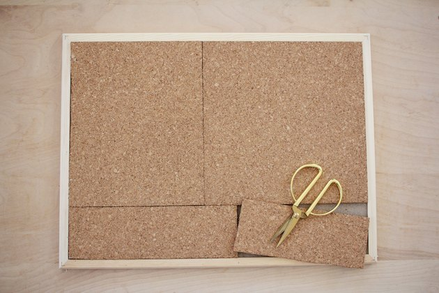 Cutting cork tiles to fit bulletin board