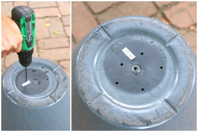 How to drill drainage holes into a planter