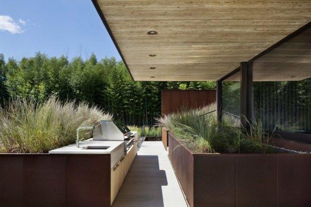 modern industrial outdoor kitchen